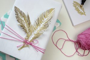 Gift Wrapping DIY Papier Federn
